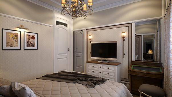 Симметричное расположение мебели в спальне