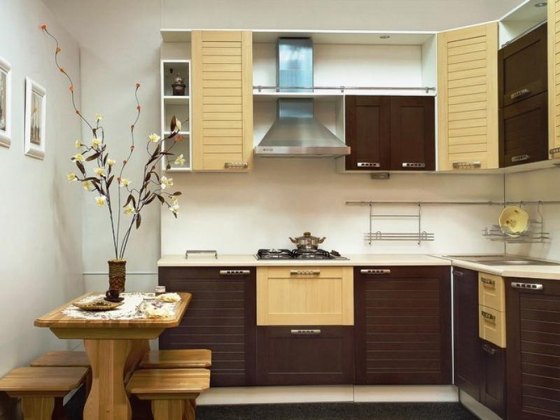 Современная Г образная мебель на кухне