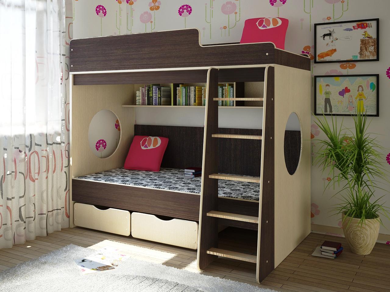 Современная двухэтажная мебель для двух детей