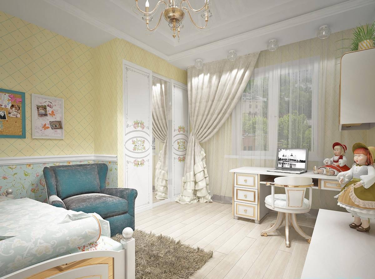 Современный стиль прованс в детской комнате