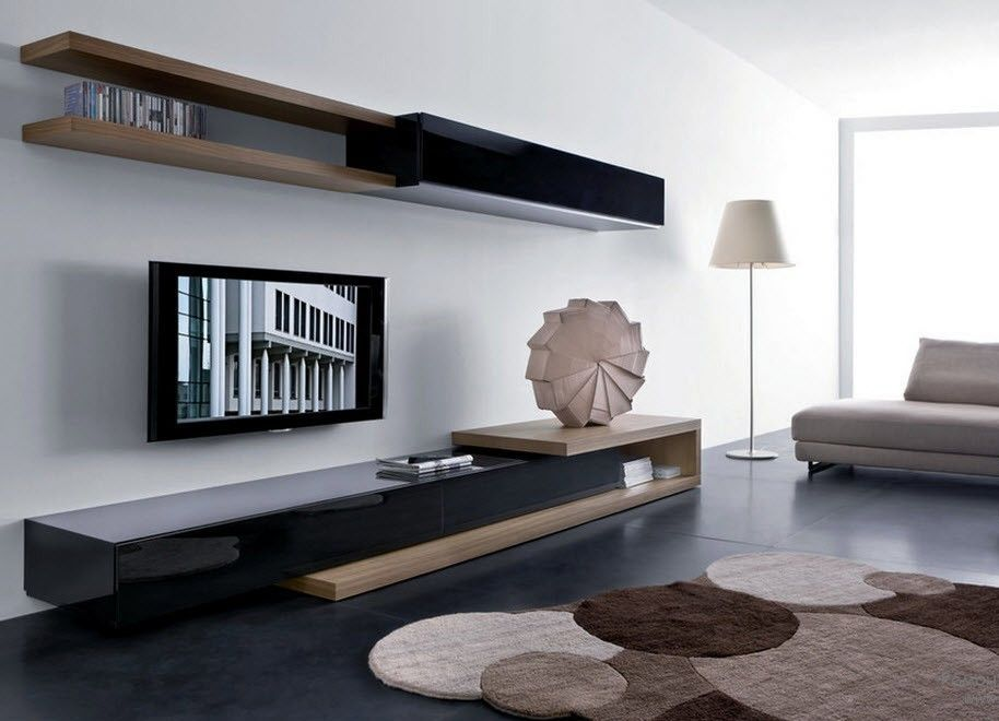 Стильная корпусная мебель современного стиля в гостиной комнате