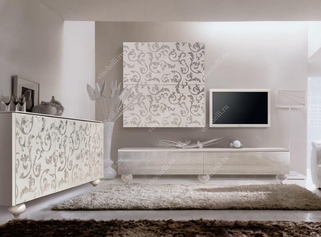 Стильная мебель для гостиной с глянцевой поверхностью