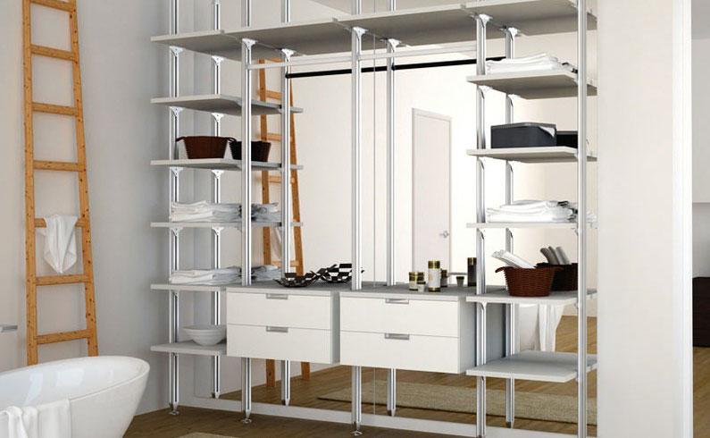 Стильная открытая гардеробная комната