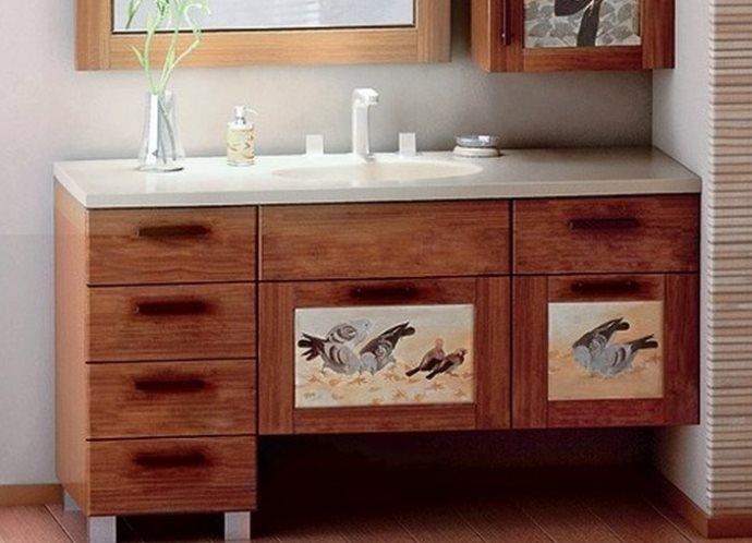 Оформление мебели в ванной