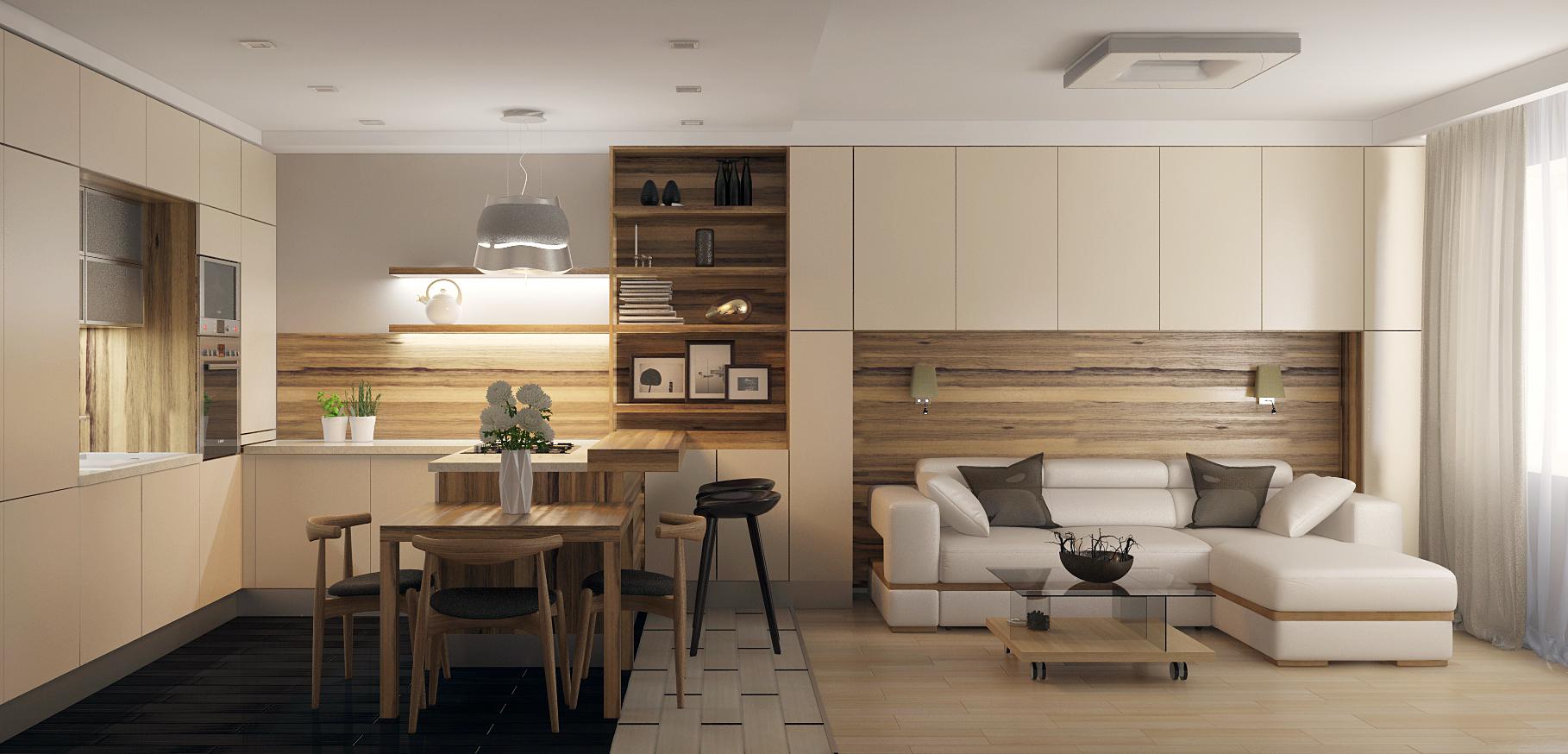 Стильная современная кухня гостиная