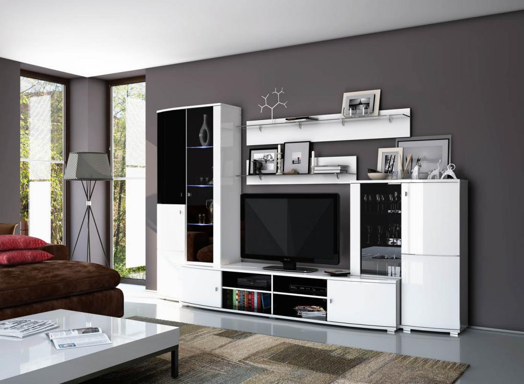 Светлая глянцевая мебель для гостинойэ