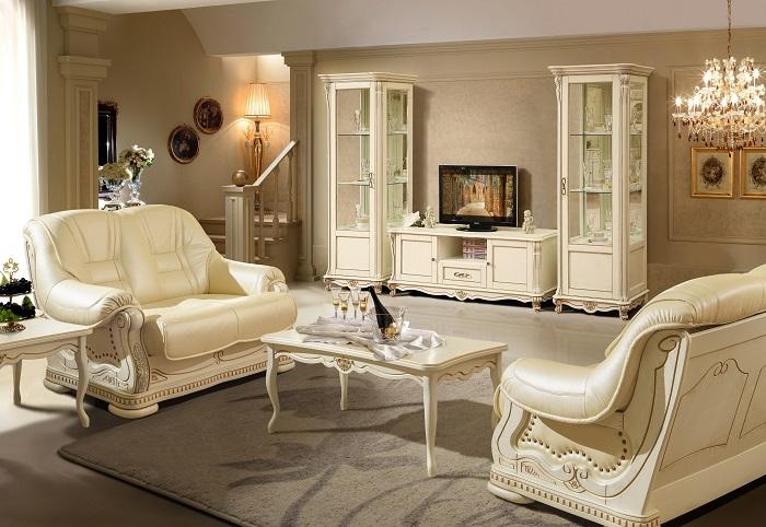 Светлая мебель для гостиной