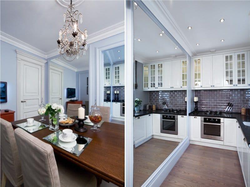 Светлая мебель для обустройства кухни в доме