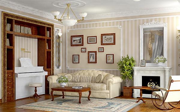 Светлая мебель в гостиную классического стиля