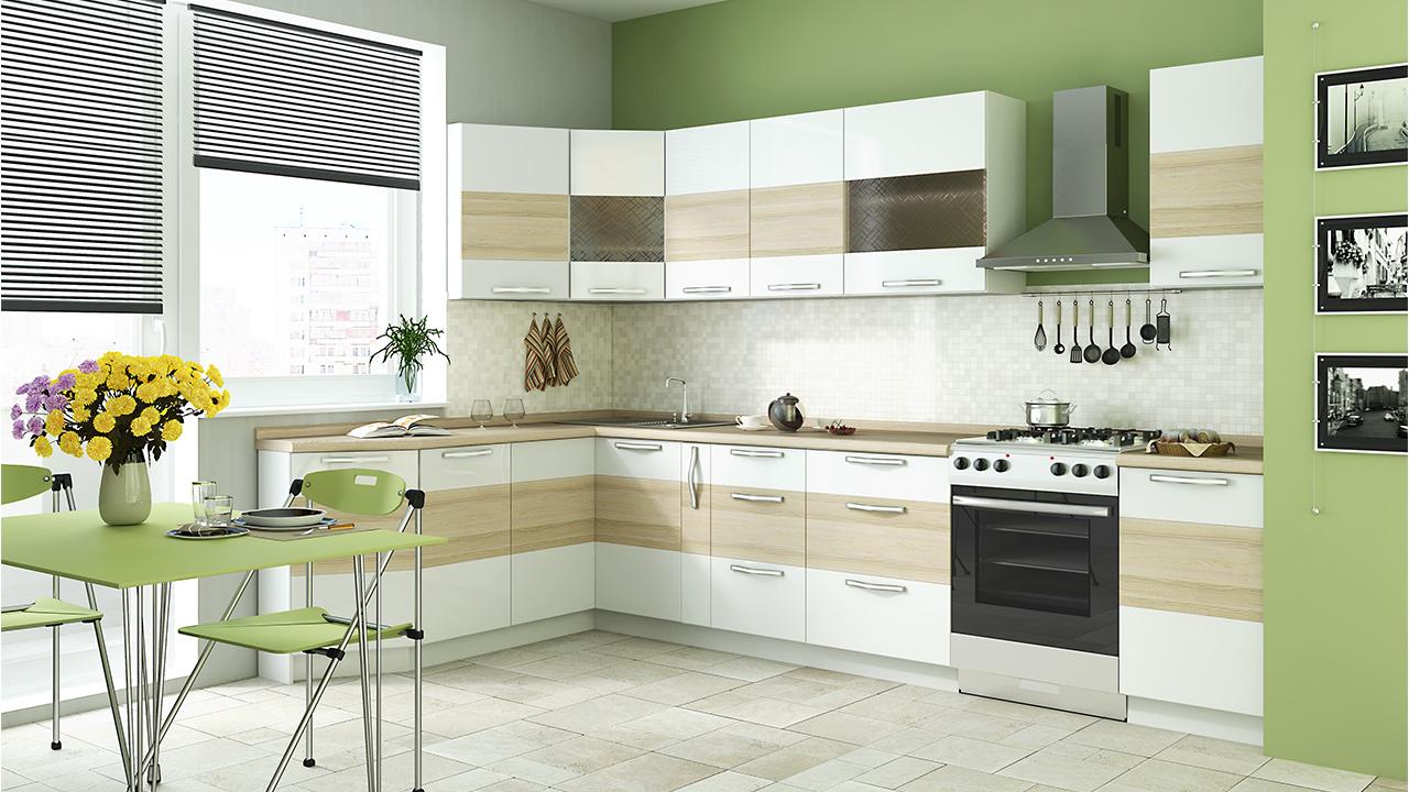 Светлая модульная мебель для кухни