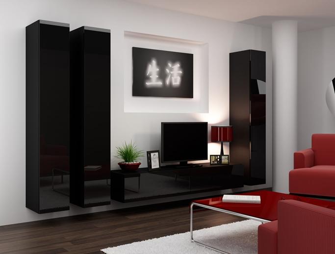 Темная глянцевая мебель для гостиной