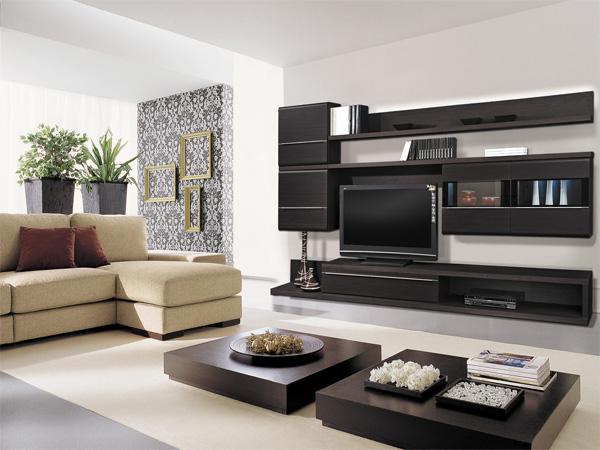Темная модульная мебель для гостиной
