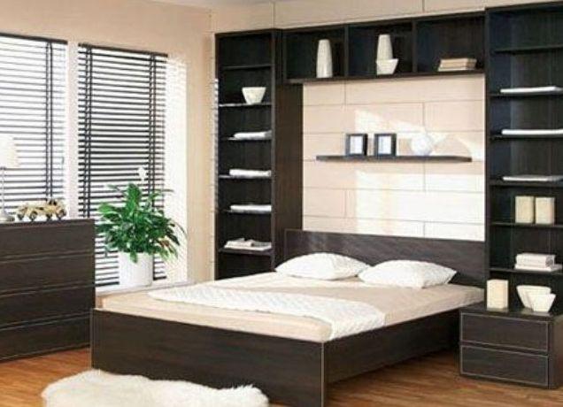 Темная модульная мебель для спальни