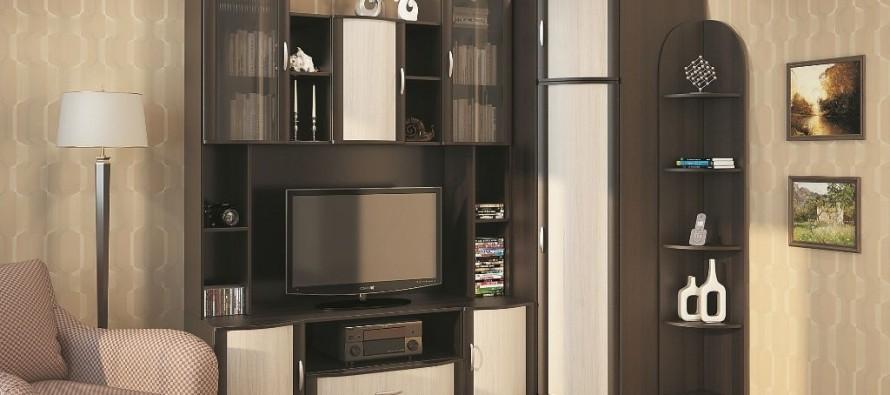 Темная угловая мебель в гостиной комнаты