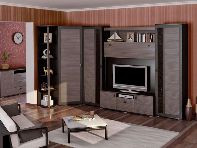 Темная угловая мебель в гостиной