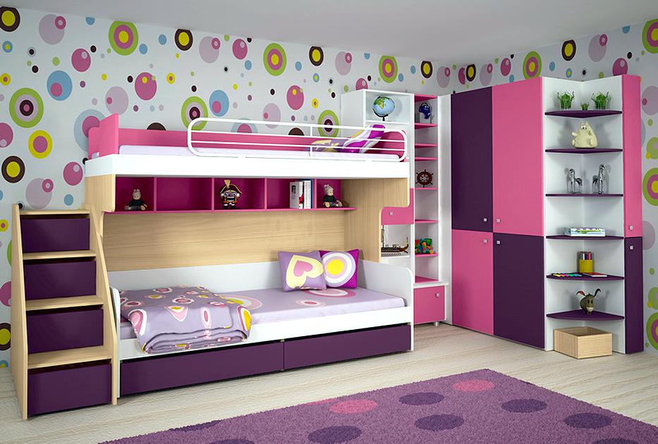 Удобная двухэтажная мебель для двух детей