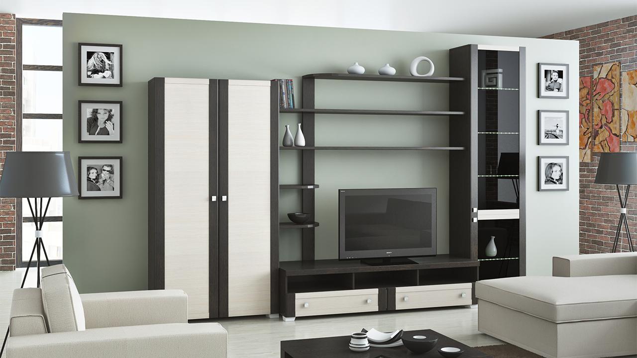 Удобная корпусная мебель для гостиной
