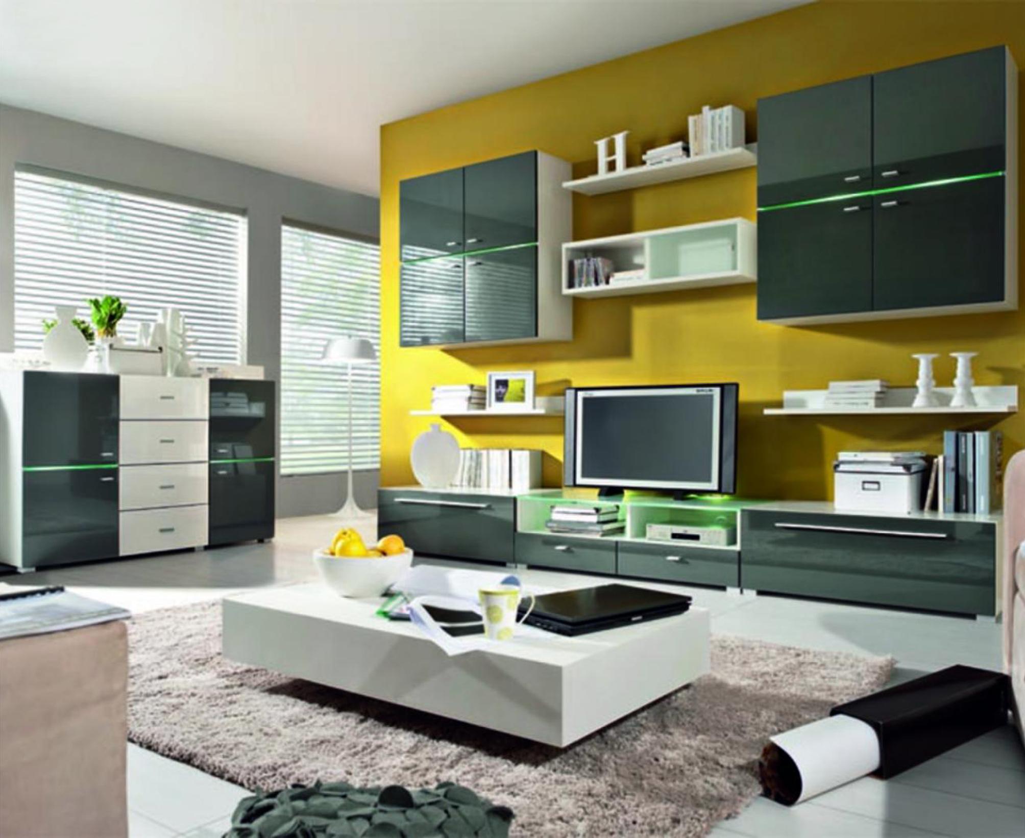 Удобная мебель для гостиной с глянцевой поверхностью