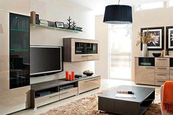 Удобная стильная корпусная мебель для гостиной