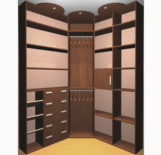 Угловая гардеробная экономит пространство комнаты