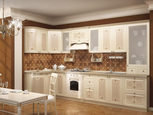 Угловая красивая угловая кухня