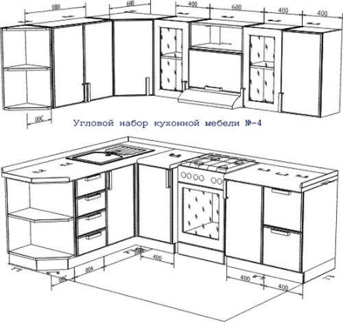 Угловой набор мебели с размерами