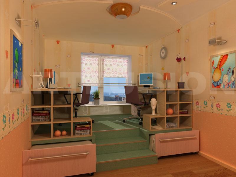 Уютная мебель для двух однополых детей