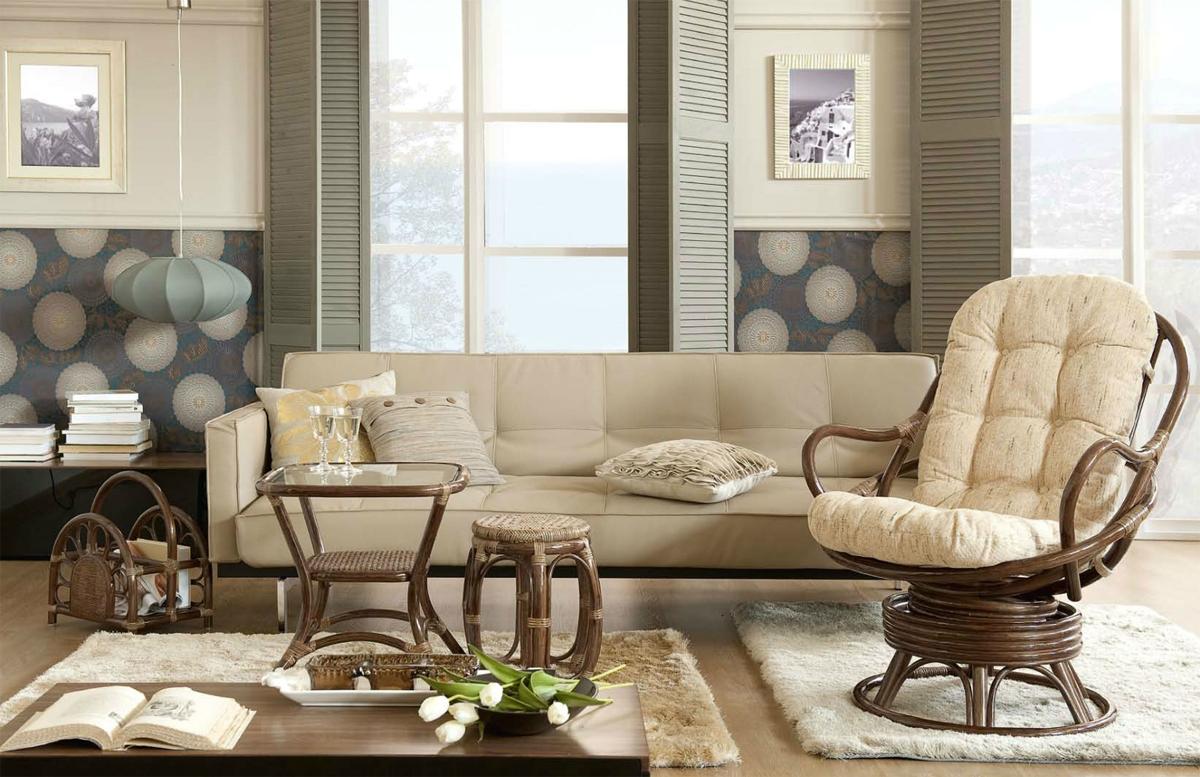 В эко-стиле дерево и ротанг отлично вписываются в современный дизайн квартиры