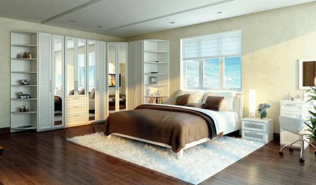 Вариант кругового расположения мебели в спальне