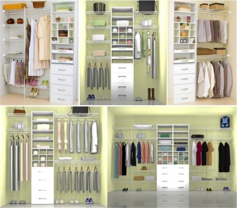 Варианты сетчатой гардеробной системы