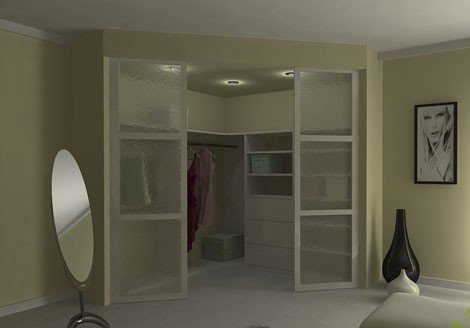 Вместительная угловая гардеробная комната