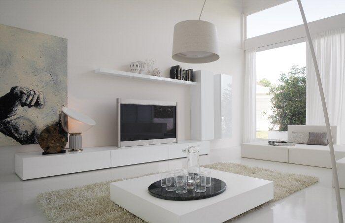 Выбираем белую мебель для гостиной с глянцевой поверхностью