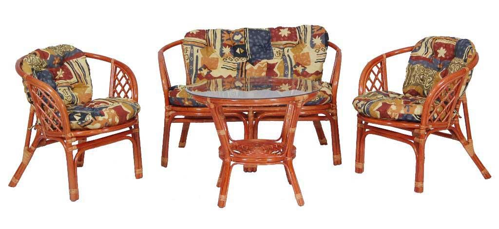 Яркая мягкая мебель, созданная из ротанга