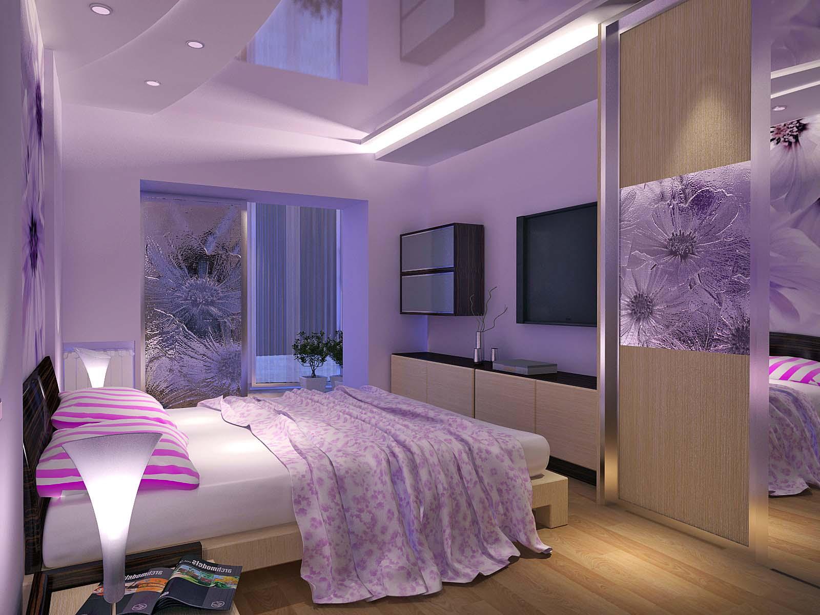 Яркое круговое расположение мебели в спальне