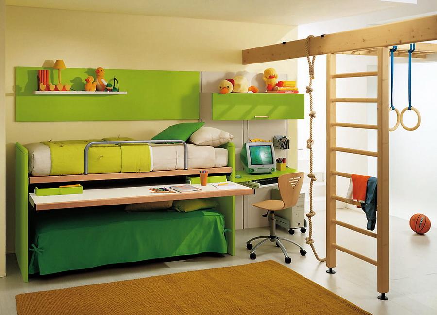 Зеленая красивая мебель для детской спальни