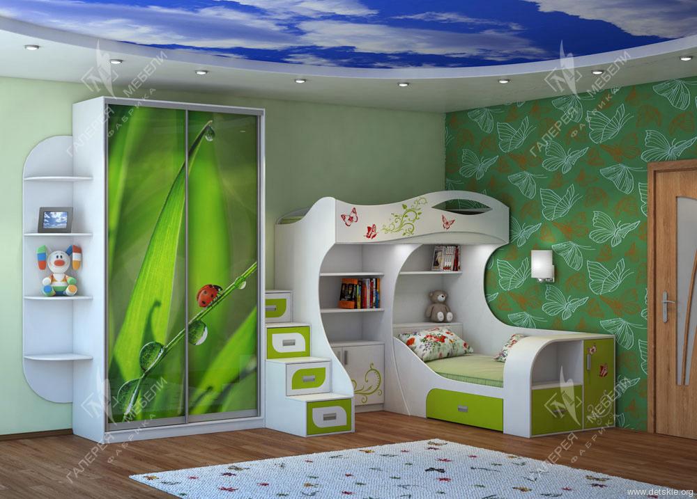 Зеленая мебель для детской спальни