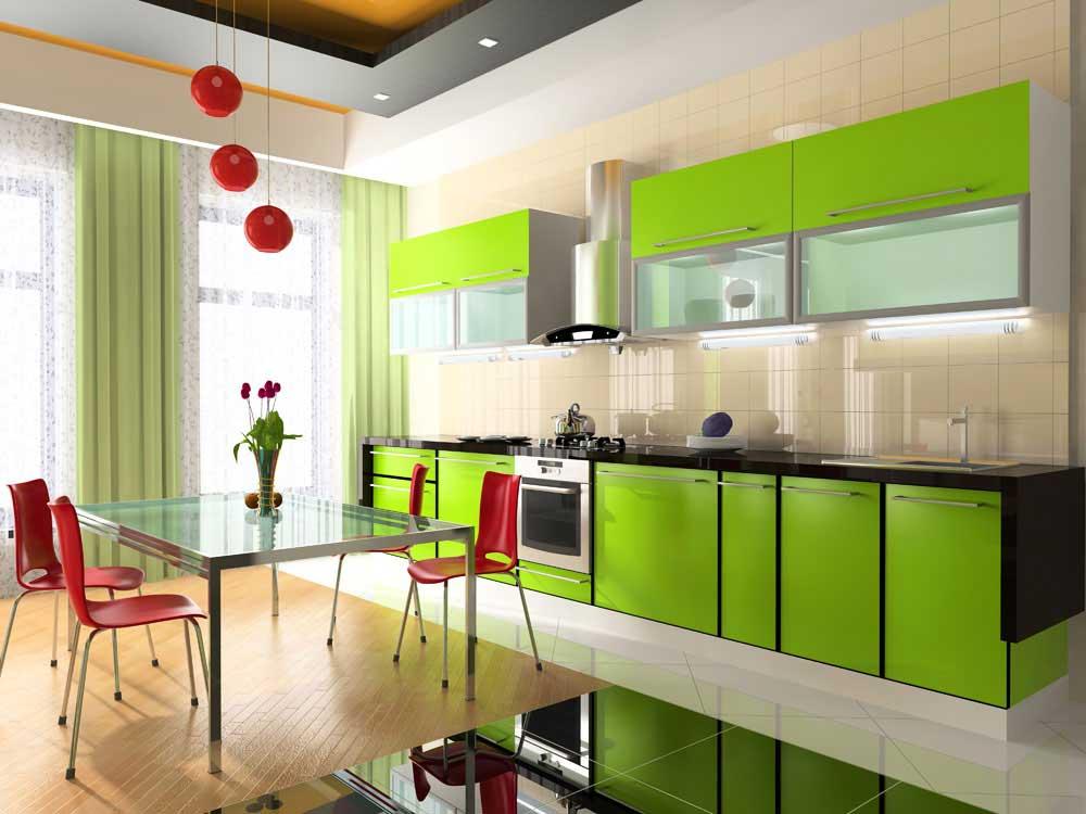 Зеленая модульная мебель для кухни