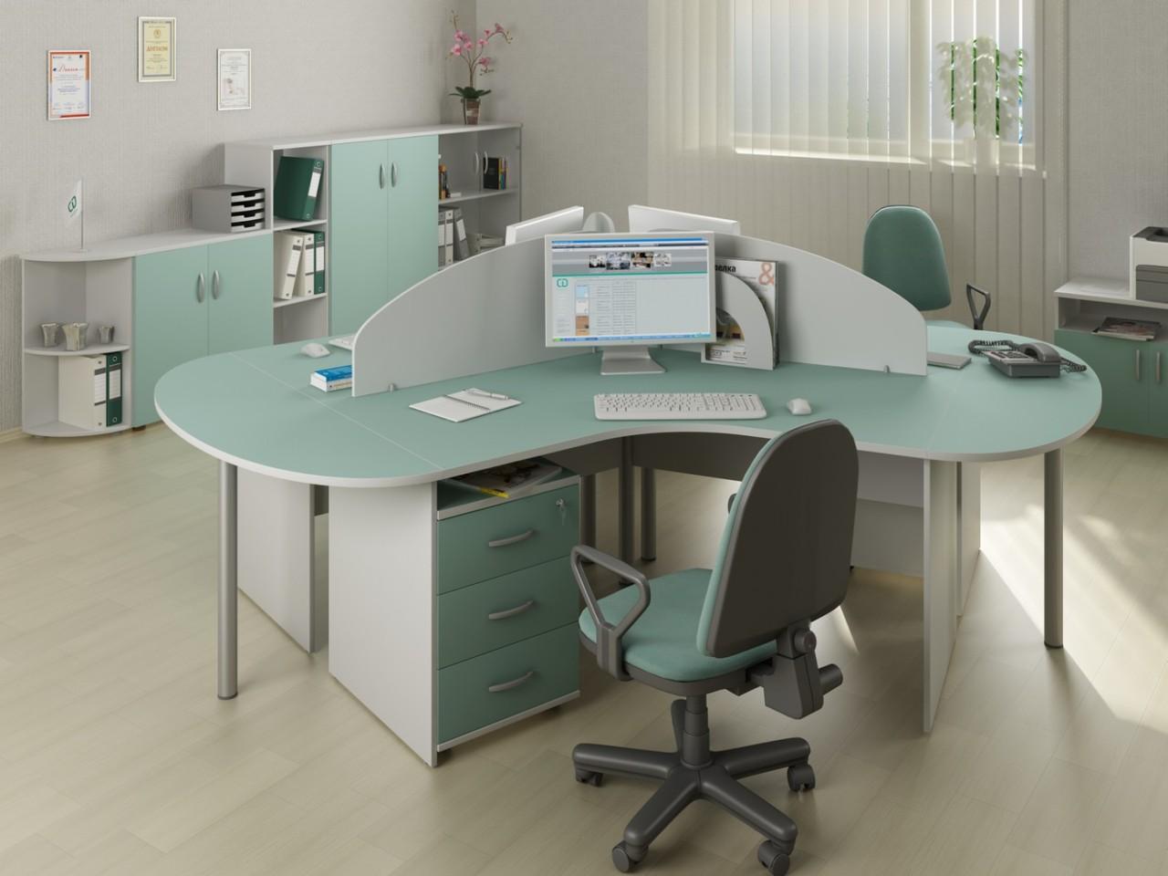Зеленая офисная мебель