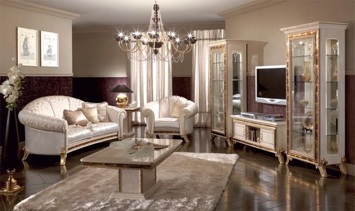 Золотая мебель в гостиную классического стиля