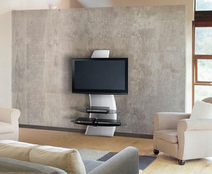 Белый кронштейн для телевизора на стену напольный
