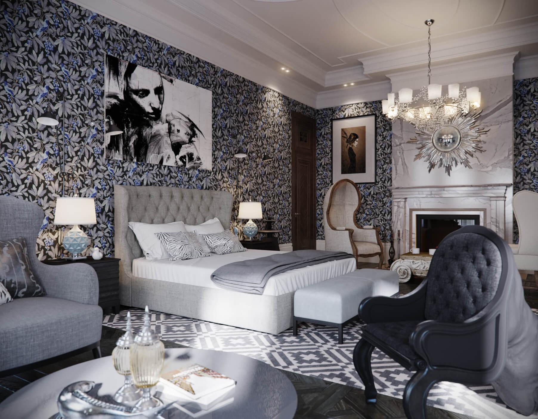 Большая классическая спальня с камином