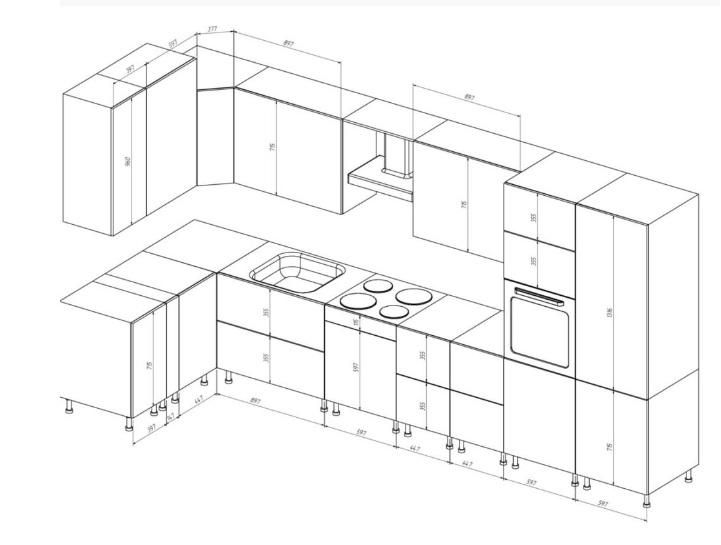 Чертёж кухонного гарнитура из мебельных щитов