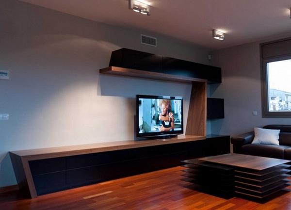 Длинные тумбы под телевизор в интерьере