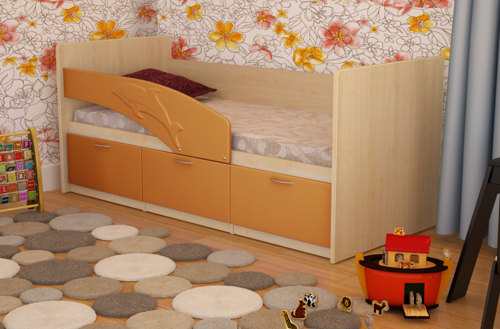Кровать цвета клен