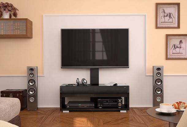 Надежную фиксацию телевизора на кронштейне обеспечивает специальная защелка