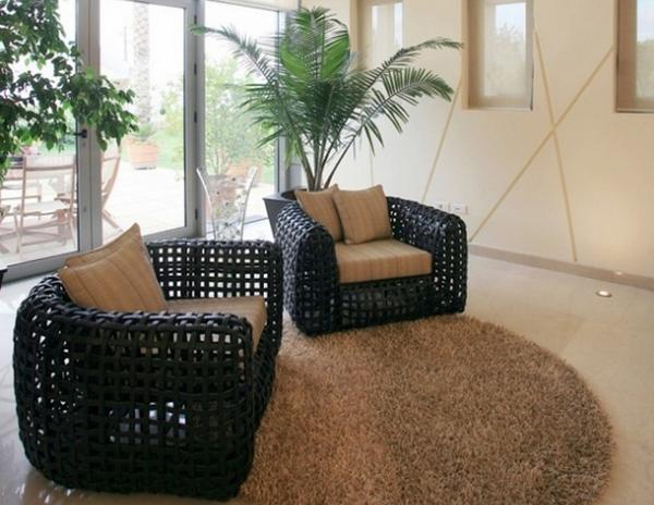 Плетеная мебель в эко интерьере