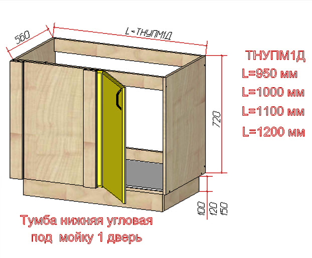 Схематический чертеж однодверной тумбы