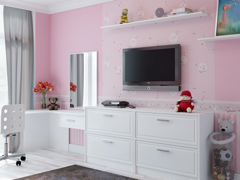 Белый комод и подвешенный на стену телевизор