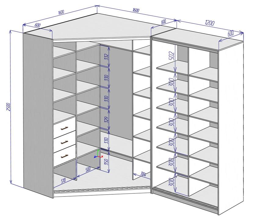 Чертеж углового книжного шкафа