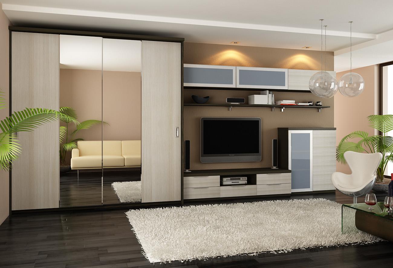 Гардеробный шкаф гостиной как элемент модульной стенки